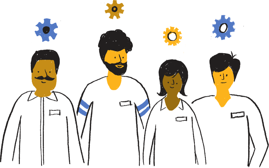 four hand drawn people with various ethnicities pictured in white shirts with gears over their heads